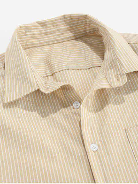 ZAFUL Gestreiftes Hemd mit Knopfleiste - Helles Khaki XL Mobile