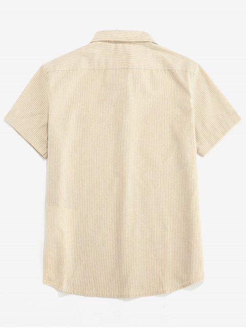 ZAFUL Stripe Pocket Button Up Shirt - ضوء الكاكي XL Mobile