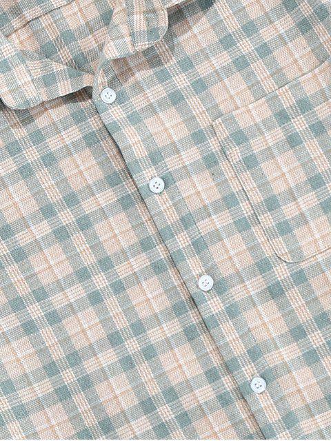 ZAFUL Chemise à Carreaux avec Poche - Turquoise Grisâtre S Mobile