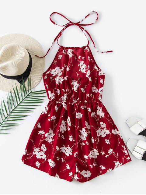 chic ZAFUL Halter Floral Open Back Romper - RED L Mobile