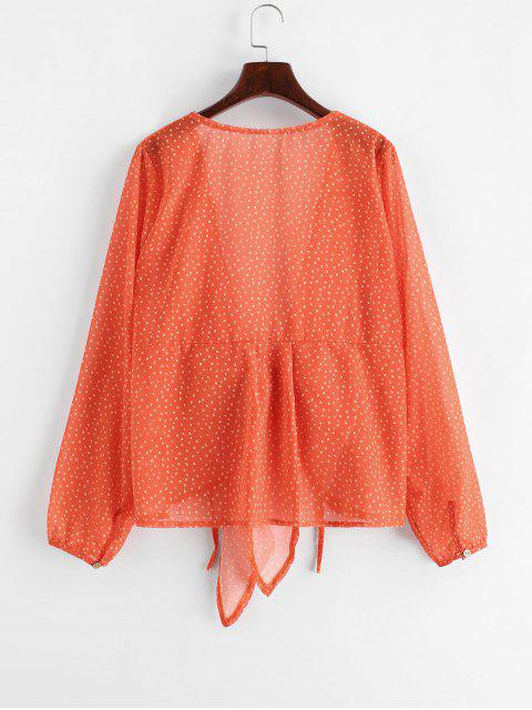 trendy Star Print V Neck Tie Front Blouse - ORANGE S Mobile