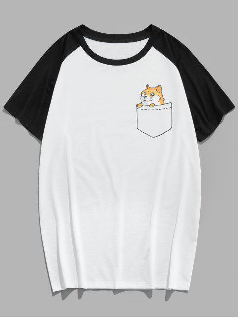 T-Shirt di ZAFUL a Blocchi di Colore con Pannello a Blocchi di Animali - Multi Colori 2XL Mobile