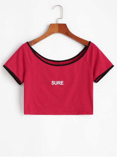 Ringer T-Shirt Corta Stampata a Lettere di ZAFUL - Rosso XL Mobile