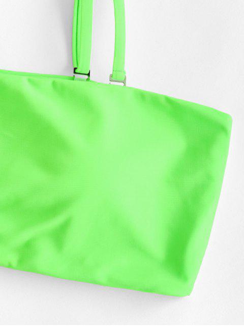 latest ZAFUL Neon Bandeau Bikini Swimsuit - GREEN S Mobile