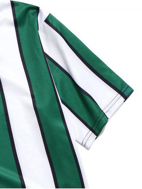 T-shirt de Manga Curta Listrada de Impressão deBlocodeCor - Verde profundo 3XL Mobile