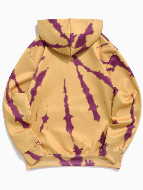 women Sun Letter Print Kangaroo Pocket Hoodie - BEE YELLOW XL Mobile