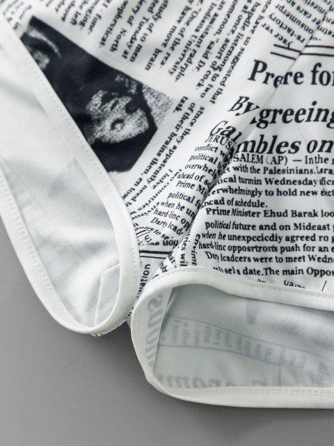 ZAFUL Kurze Shorts mit Zeitungsdruck Set - Weiß XL Mobile