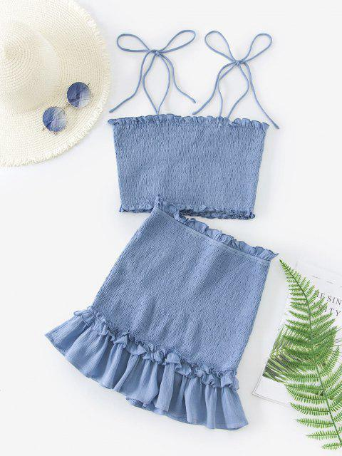 new ZAFUL Two Piece Smocked Tie Shoulder Top And Skirt Set - POWDER BLUE S Mobile