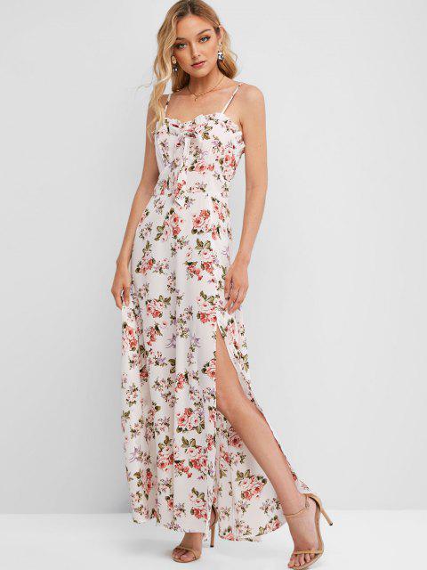 ladies ZAFUL High Slit Smocked Back Floral Maxi Dress - WHITE S Mobile