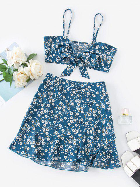 chic ZAFUL Ditsy Print Tie Front Ruffle Skirt Set - DENIM BLUE L Mobile
