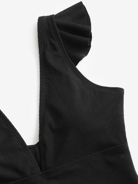 affordable ZAFUL Plunge Ruffle Ribbed One-piece Swimsuit - BLACK M Mobile
