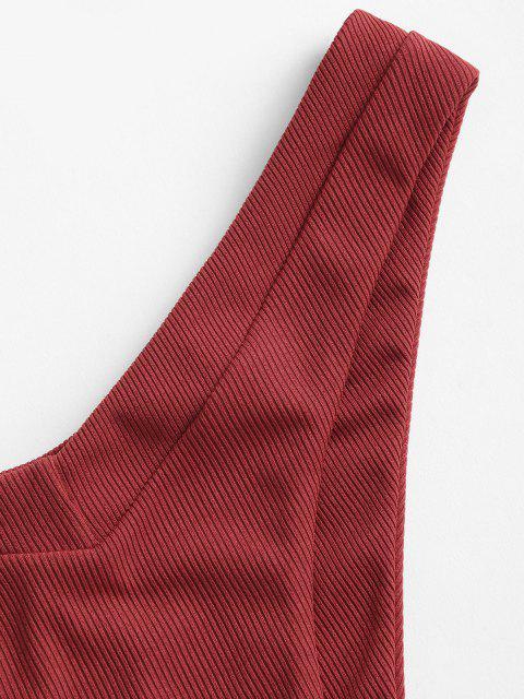 shops ZAFUL V-cut Ribbed High Leg Bikini Swimsuit - CHERRY RED M Mobile