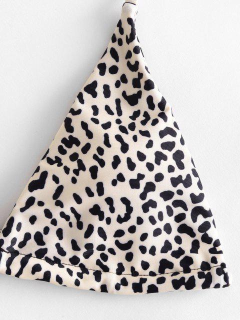 trendy ZAFUL Halter Snakeskin Leopard High Leg Bikini - TAN S Mobile