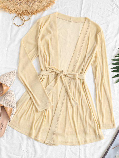 ZAFUL Robe Couverture Ajourée Ceinturée Fil Métallique - Brun Tan S Mobile