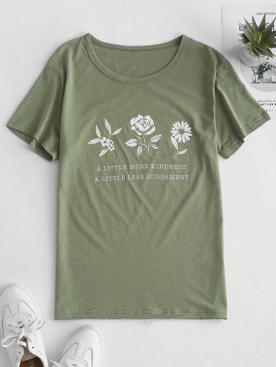 Flower Slogan Graphic Short Sleeve Tee - Light Green S