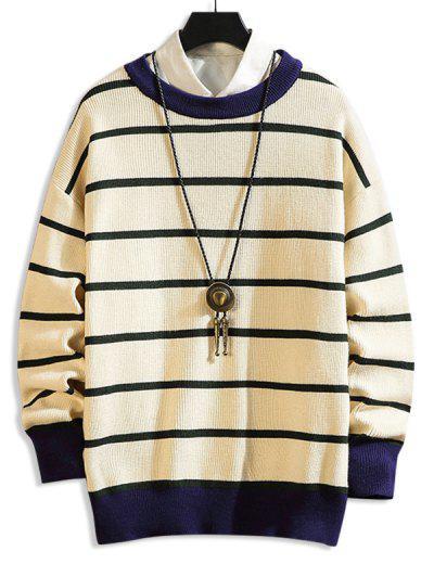 Drop Shoulder Striped Casual Sweater - Light Khaki 4xl