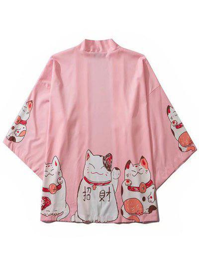 Cárdigan Kimono Con Hombro Caído Y Estampado De Gato - Rosado M