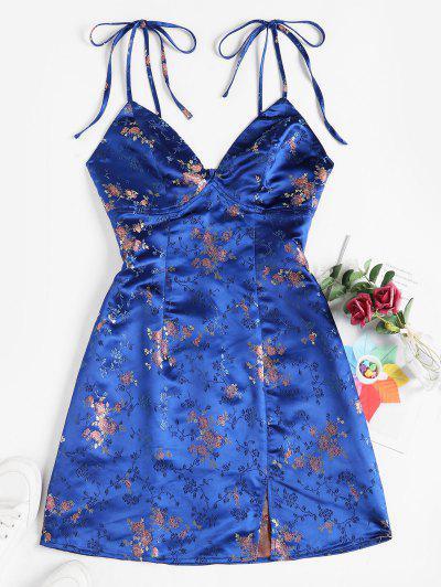 ZAFUL Tie Shoulder Floral Jacquard Slit Oriental Dress - Blue L