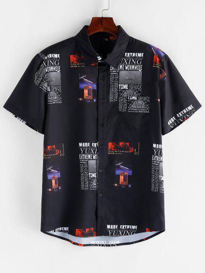 Grafischer Buchstabe Muster Gummileckage T-Shirt Mit Kurzen Ärmeln - Schwarz M