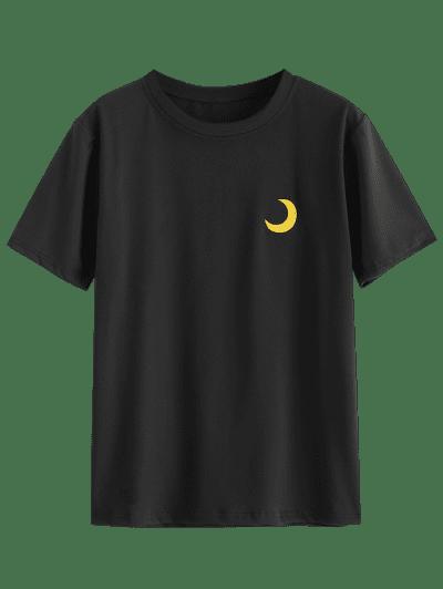 Funny Lightning Sun Cloud Moon Embroidered Tee