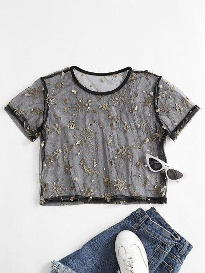 ZAFUL Star Embroidered Lace See Thru T-shirt - Black M