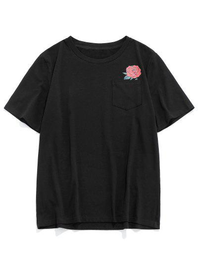 ZAFUL Camiseta Con Estampado Floral De Bolsillo - Negro L