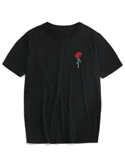 ZAFUL Rose Embroidery Short Sleeve T-shirt - Black Xl