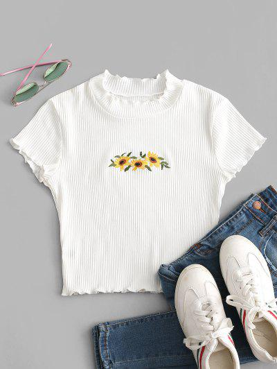 Floral Embroidered Lettuce Trim Crop Tee - White M