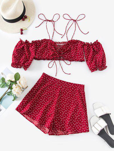 ZAFUL Valentine Heart Print Tie Shoulder Two Piece Set - Red Wine L