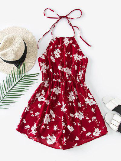 ZAFUL Halter Floral Open Back Romper - Red L