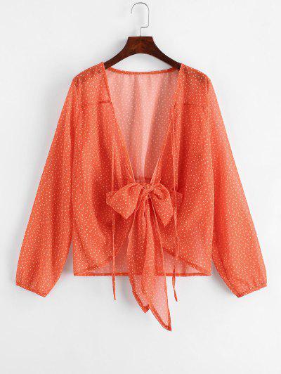 Star Print V Neck Tie Front Blouse - Orange M