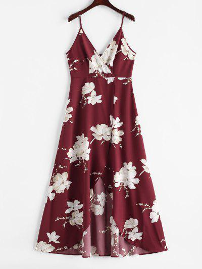 ZAFUL Flower Slit Maxi Surplice Dress - Red Wine L