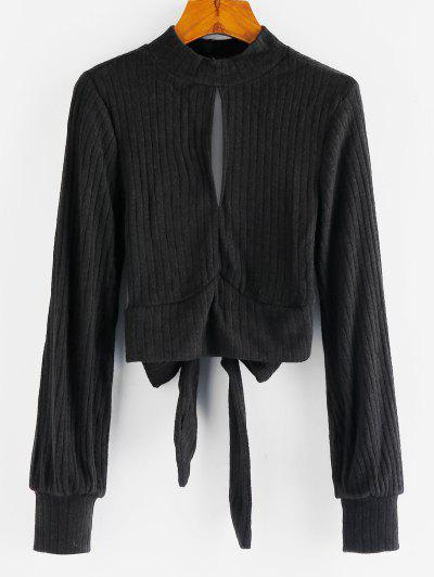 Ribbed Tie Back Keyhole Cropped Sweater - Black L