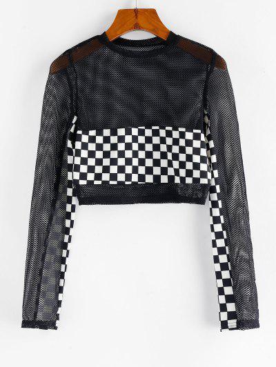 Checkered Fishnet Crop Top - Black M