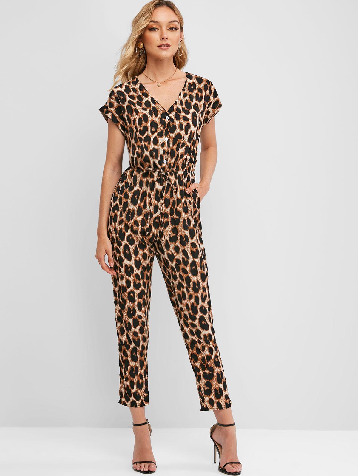 Cuffed Button Placket Leopard Jumpsuit