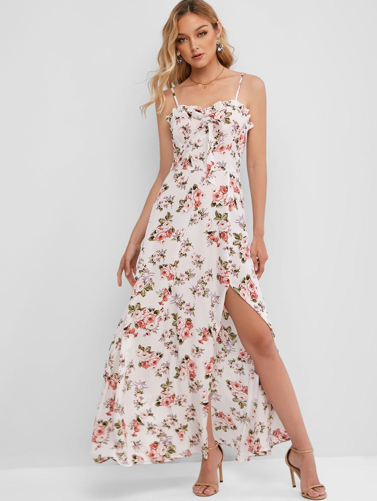 ZAFUL High Slit Smocked Back Floral Maxi Dress