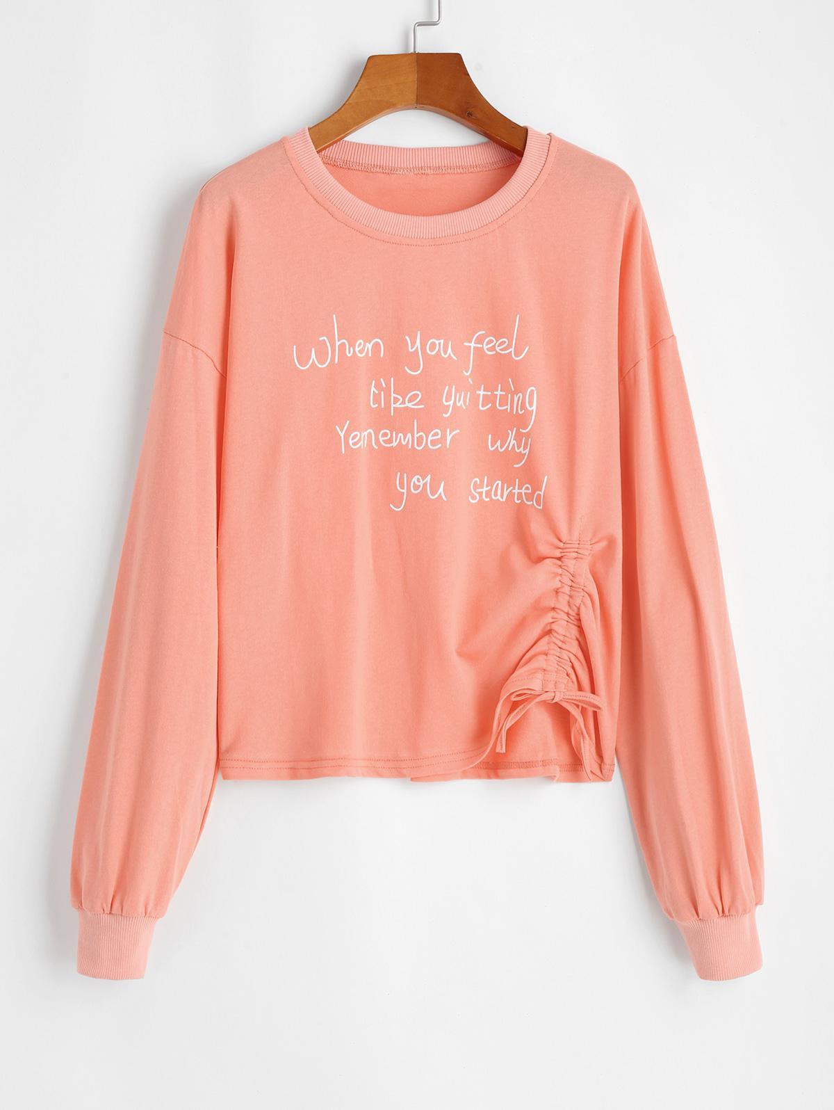 Cinched Slogan Graphic Pullover Sweatshirt