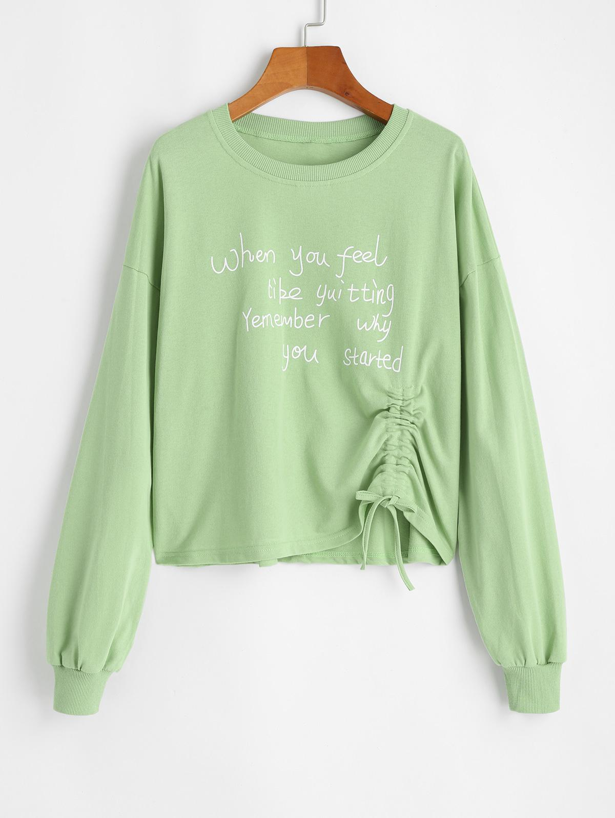 Cinched Slogan Graphic Pullover Sweatshirt