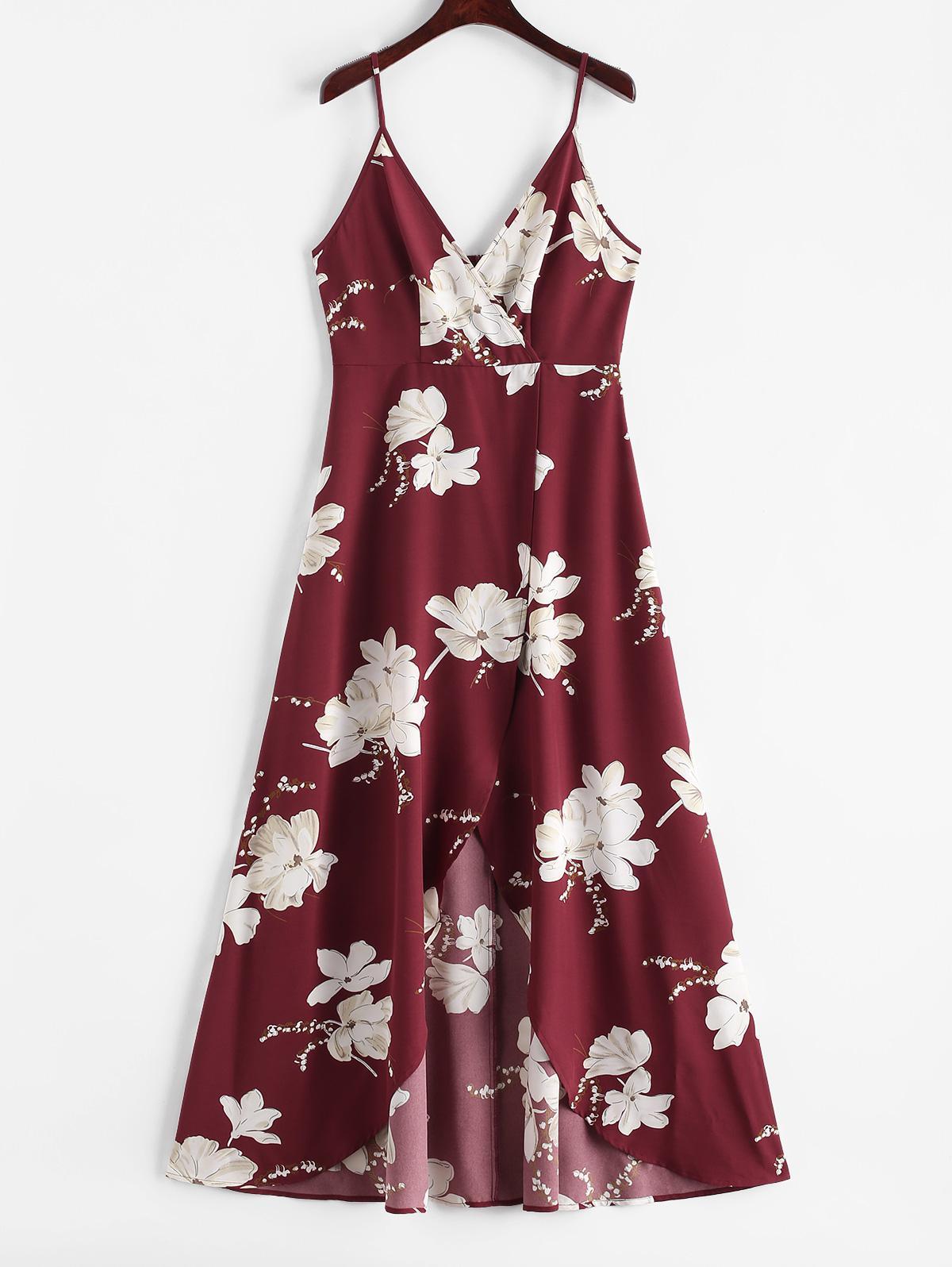 ZAFUL Flower Slit Maxi Surplice Dress