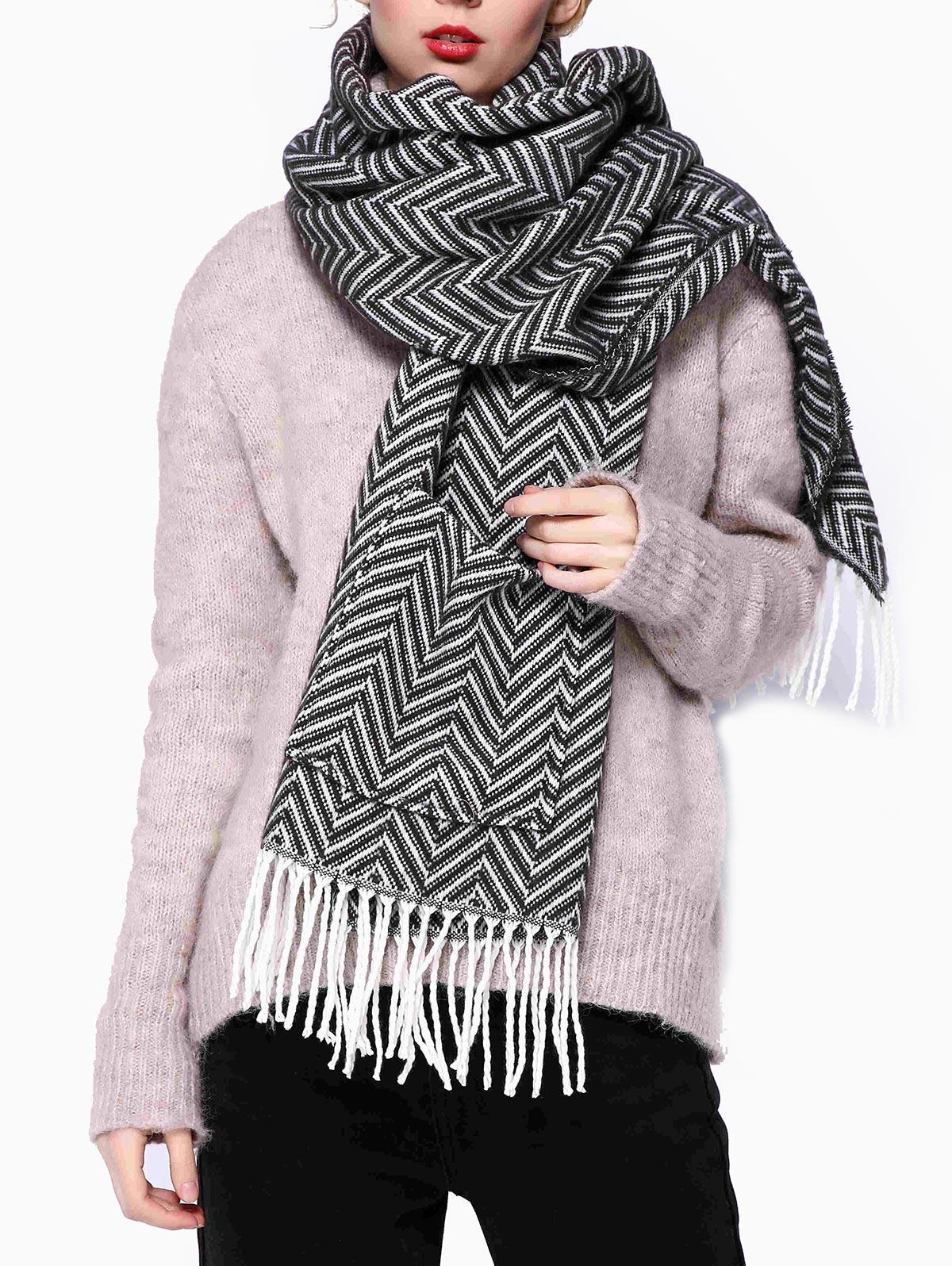 Zigzag Design Pocket Long Tassel Scarf фото