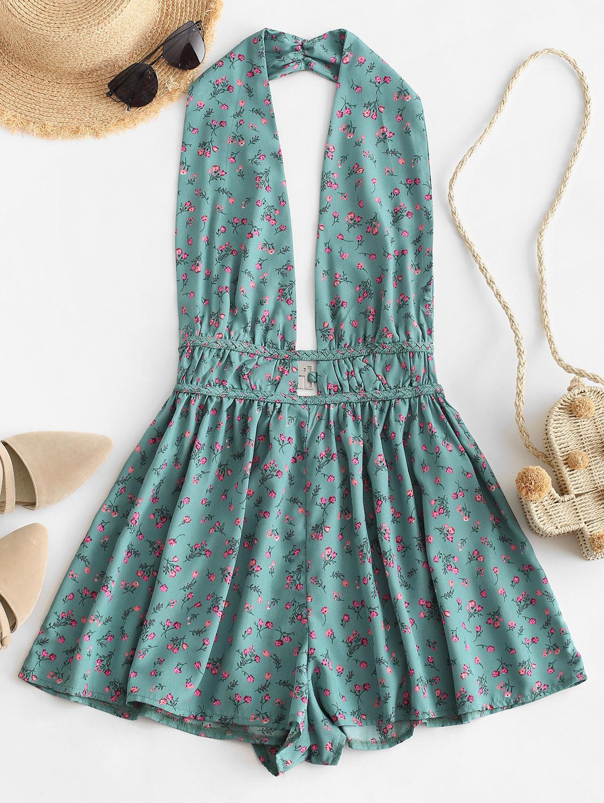 Backless Tiny Floral Wide Leg Romper