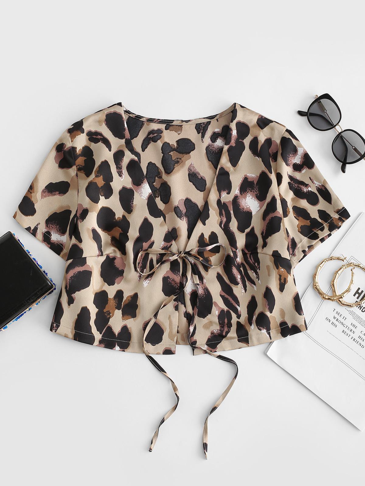 Leopard Print Tied Crop Blouse thumbnail