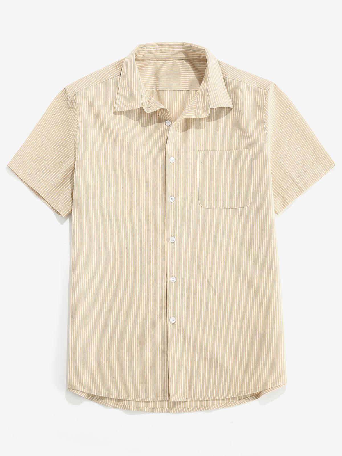 Chemise Rayée avec Poche Boutonnée - ZAFUL - Modalova
