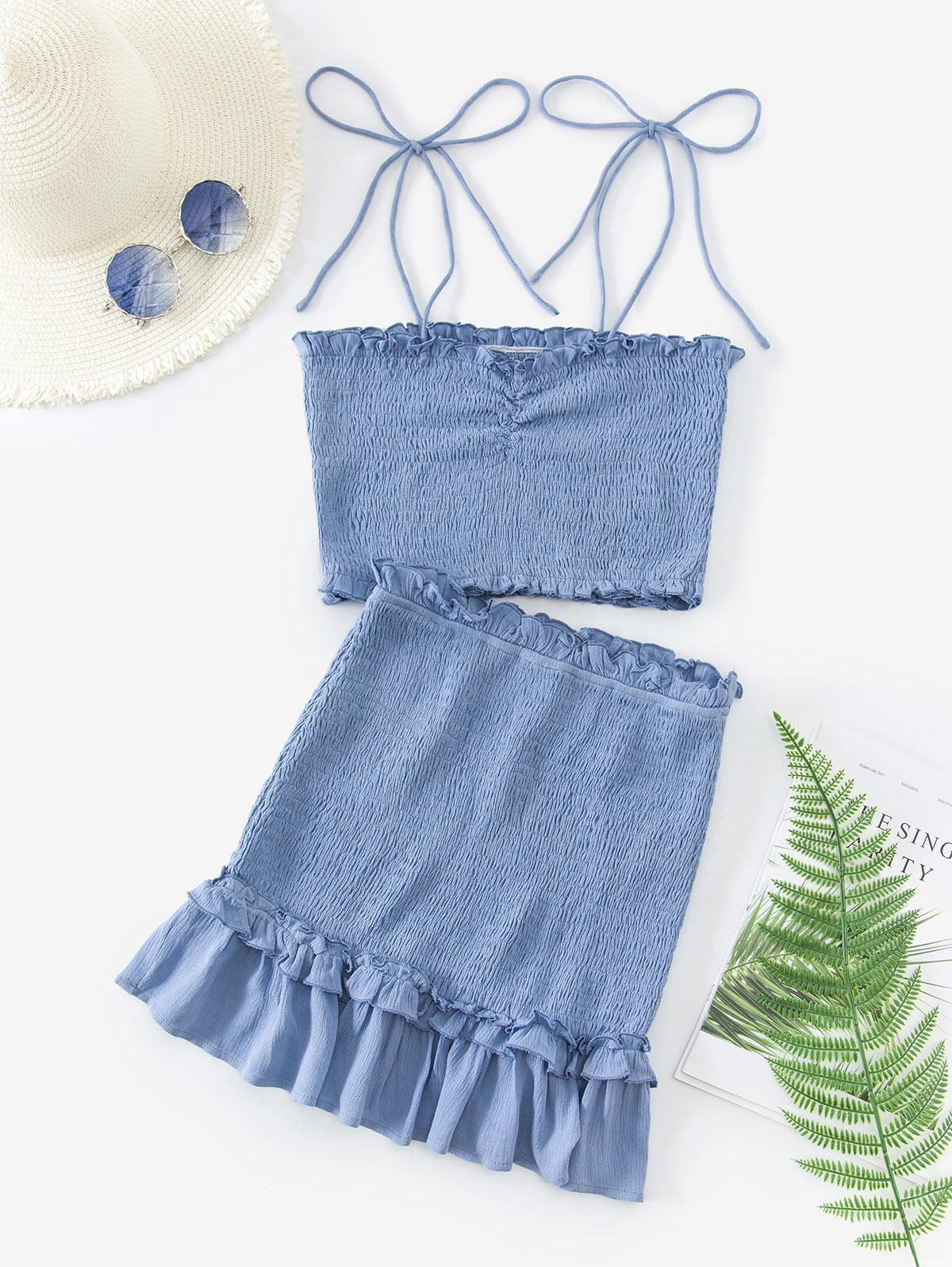 ZAFUL Two Piece Smocked Tie Shoulder Top And Skirt Set