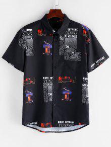الرسم رسالة نمط قصيرة الأكمام قميص - أسود L