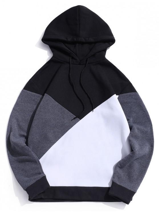 trendy Casual Color Blocking Hoodie - BLACK L