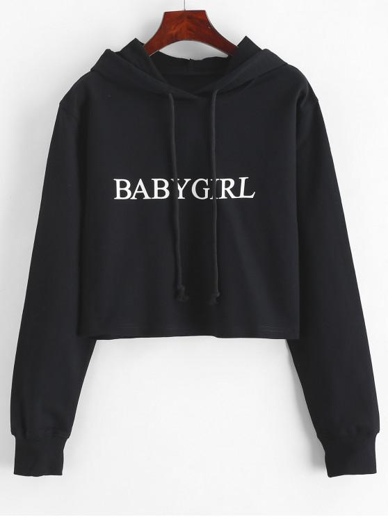 women's Drawstring Letter Graphic Short Hoodie - BLACK S