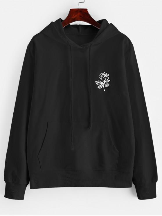 best Drawstring Rose Graphic Front Pocket Hoodie - BLACK XL