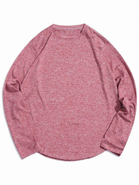 chic Casual Round Neck Full Sleeves T-shirt - RED WINE XL