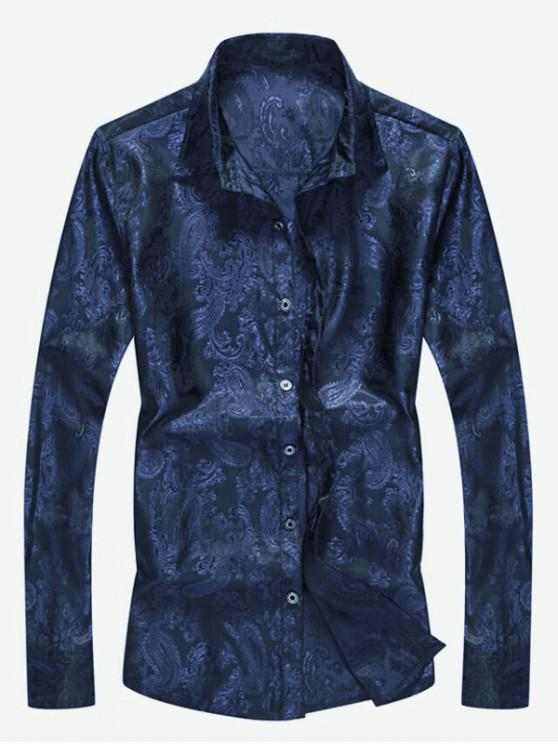 outfit Button Up Totem Print Shirt - CADETBLUE XS